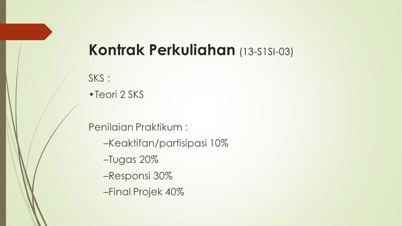 Kontrak Perkuliahan (13-S1SI-03) SKS : Teori 2 SKS Penilaian Praktikum : –Keaktifan/partisipasi 10% –Tugas 20% –Responsi 30% –Final Projek 40%