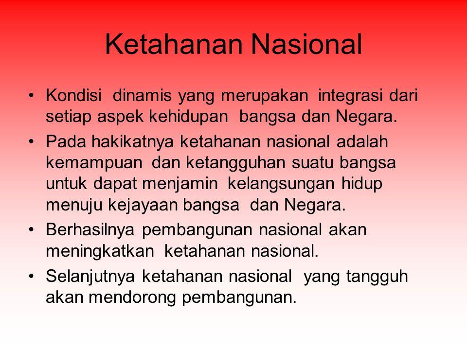 Ketahanan Nasional Kondisi dinamis yang merupakan integrasi dari setiap aspek kehidupan bangsa dan Negara. Pada hakikatnya ketahanan nasional adalah k