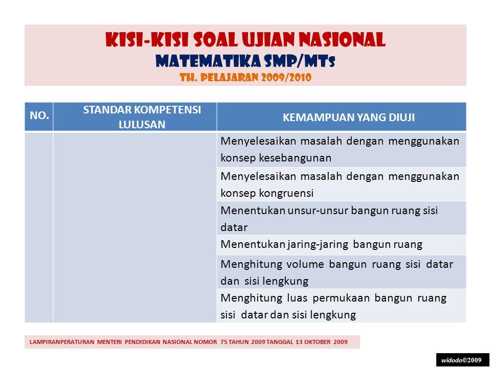 KISI-KISI SOAL UJIAN NASIONAL MATEMATIKA SMP/MT S TH. PELAJARAN 2009/2010 NO. STANDAR KOMPETENSI LULUSAN KEMAMPUAN YANG DIUJI 3.Memahami bangun datar,