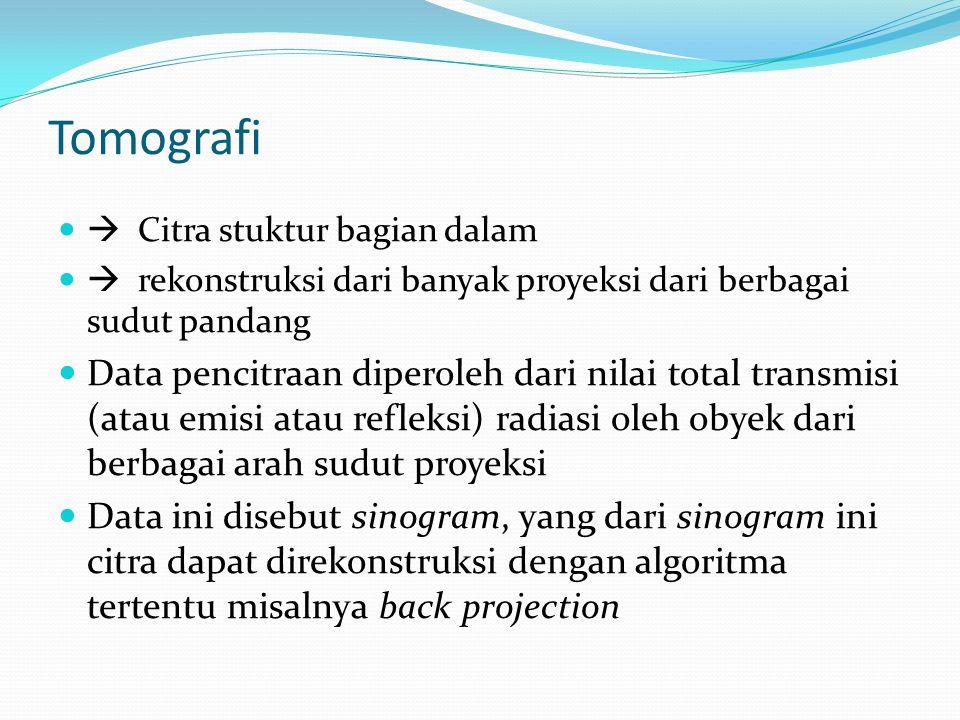 Tomografi  Citra stuktur bagian dalam  rekonstruksi dari banyak proyeksi dari berbagai sudut pandang Data pencitraan diperoleh dari nilai total tran