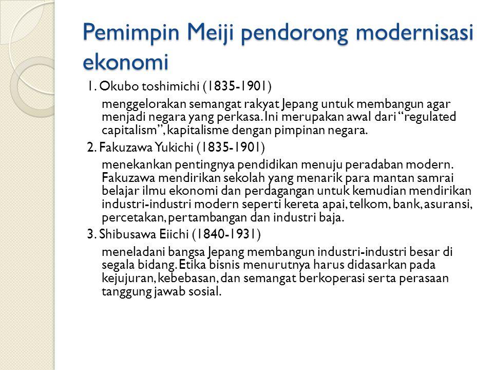 Pemimpin Meiji pendorong modernisasi ekonomi 1.
