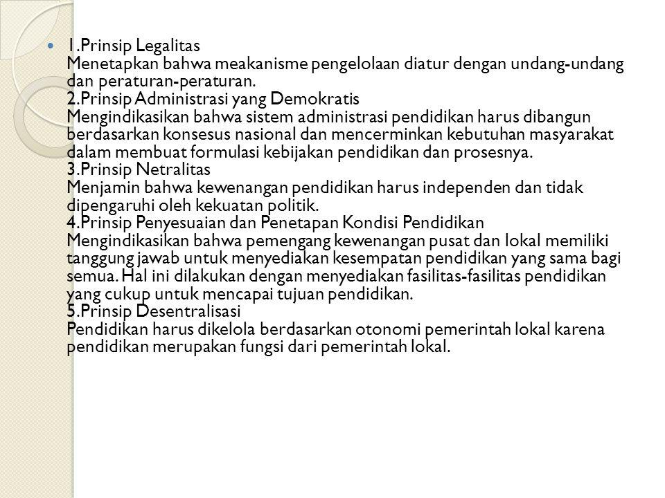 1.Prinsip Legalitas Menetapkan bahwa meakanisme pengelolaan diatur dengan undang-undang dan peraturan-peraturan. 2.Prinsip Administrasi yang Demokrati
