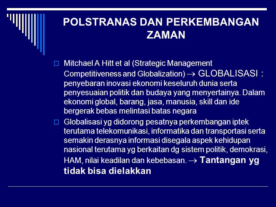 POLSTRANAS DAN PERKEMBANGAN ZAMAN  Mitchael A Hitt et al (Strategic Management Competitiveness and Globalization)  GLOBALISASI : penyebaran inovasi