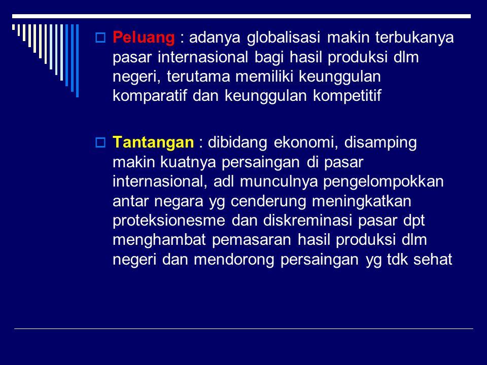  Peluang : adanya globalisasi makin terbukanya pasar internasional bagi hasil produksi dlm negeri, terutama memiliki keunggulan komparatif dan keungg