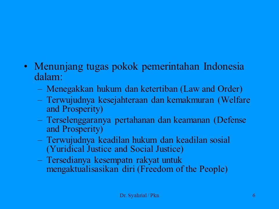 Dr. Syahrial / Pkn6 Menunjang tugas pokok pemerintahan Indonesia dalam: –Menegakkan hukum dan ketertiban (Law and Order) –Terwujudnya kesejahteraan da