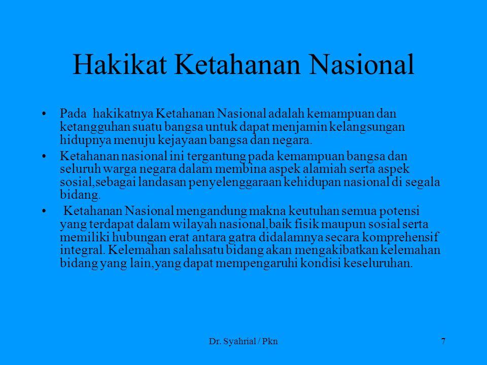 Dr. Syahrial / Pkn7 Hakikat Ketahanan Nasional Pada hakikatnya Ketahanan Nasional adalah kemampuan dan ketangguhan suatu bangsa untuk dapat menjamin k