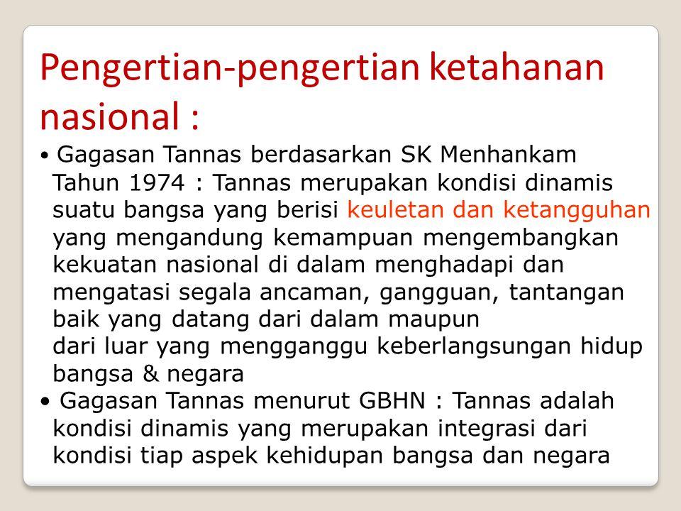 Pengertian-pengertian ketahanan nasional : Gagasan Tannas berdasarkan SK Menhankam Tahun 1974 : Tannas merupakan kondisi dinamis suatu bangsa yang ber