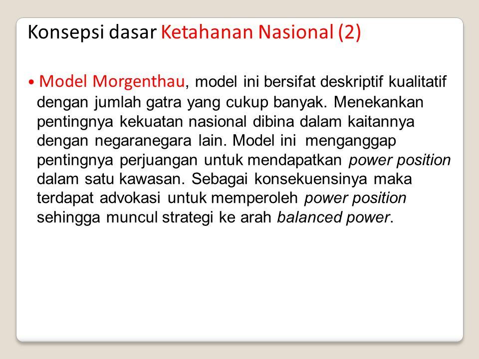 Konsepsi dasar Ketahanan Nasional (2) Model Morgenthau, model ini bersifat deskriptif kualitatif dengan jumlah gatra yang cukup banyak. Menekankan pen