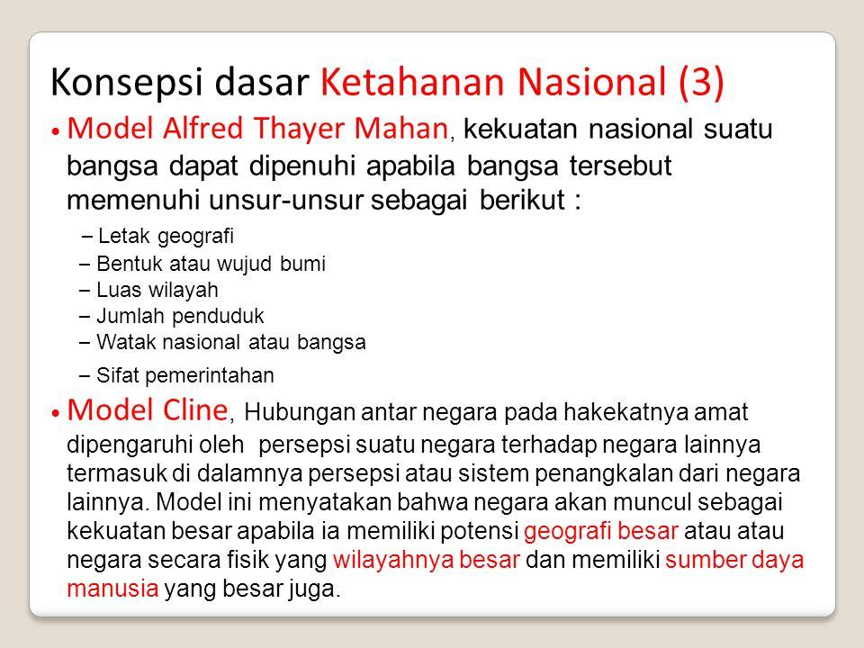 Konsepsi dasar Ketahanan Nasional (3) Model Alfred Thayer Mahan, kekuatan nasional suatu bangsa dapat dipenuhi apabila bangsa tersebut memenuhi unsur-