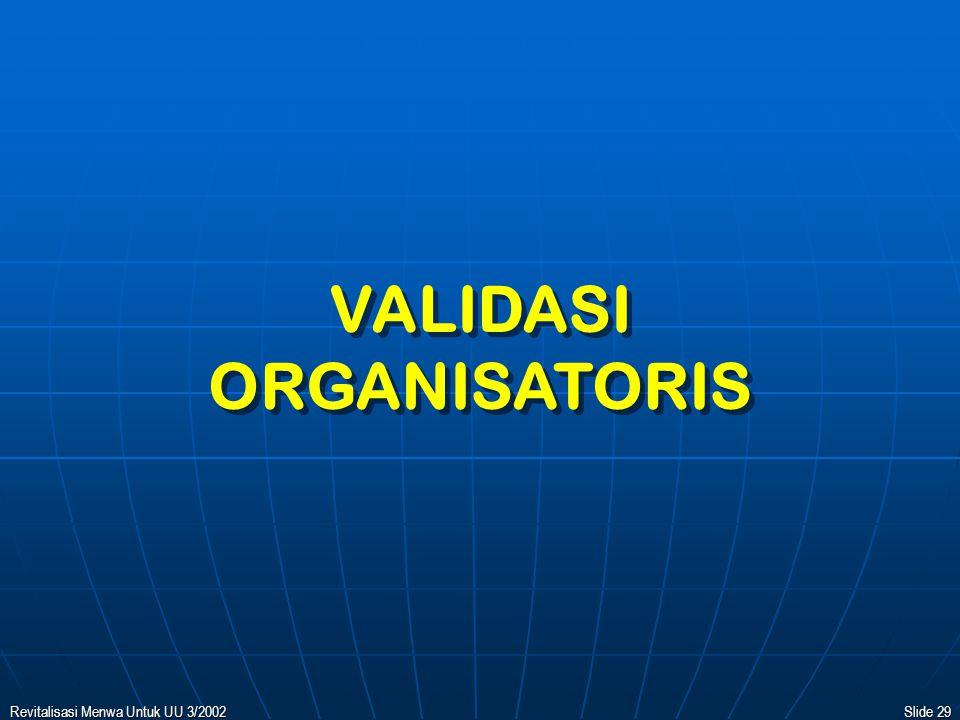 Revitalisasi Menwa Untuk UU 3/2002Slide 28 KESETARAAN PENDIDIKAN PERWIRA MENWA DI PERGURUAN TINGGI KORPS DIKPACAD (KIPRAH DALAM SATMENWA) OFFICER ATTITUDE TARUNA DI AKADEMI TNI OFFICER OFFICER OFFICER ATTITUDE + KNOWLEDGE + SKILL LETDA OFFICER OFFICER KNOWLEDGE + SKILL LINGKUP TAMTAMA (KOPTAR) LINGKUP BINTARA (SERTAR) LINGKUP PERWIRA (SERMATAR) KECABANGAN MILITER S1 + LETDA CAD.