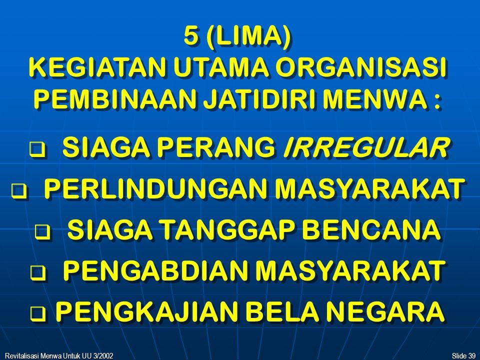 Revitalisasi Menwa Untuk UU 3/2002Slide 38 4 (EMPAT) PILAR (SOKOGURU) ORGANISASI PEMBINAAN JATIDIRI MENWA :   UNSUR MAHASISWA   DIKPACAD JALUR MENWA   KOMCAD JALUR MENWA   UNSUR SARJANA / PROFESI 4 (EMPAT) PILAR (SOKOGURU) ORGANISASI PEMBINAAN JATIDIRI MENWA :   UNSUR MAHASISWA   DIKPACAD JALUR MENWA   KOMCAD JALUR MENWA   UNSUR SARJANA / PROFESI