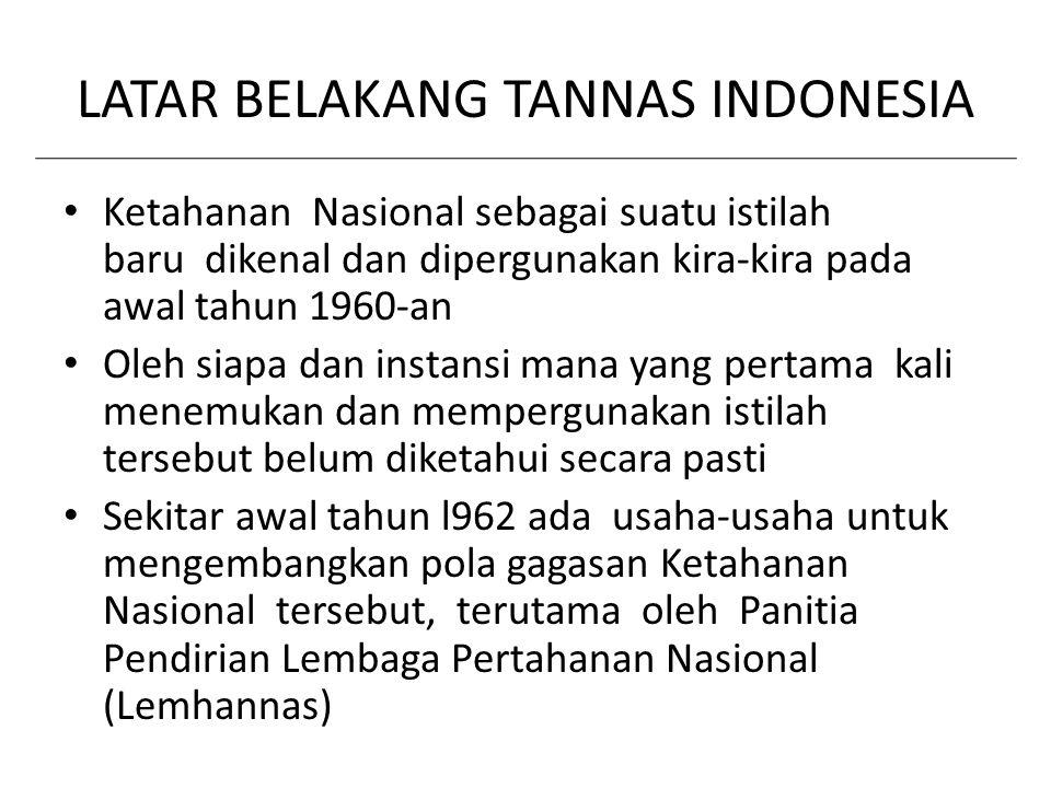 LATAR BELAKANG TANNAS INDONESIA Ketahanan Nasional sebagai suatu istilah baru dikenal dan dipergunakan kira-kira pada awal tahun 1960-an Oleh siapa da
