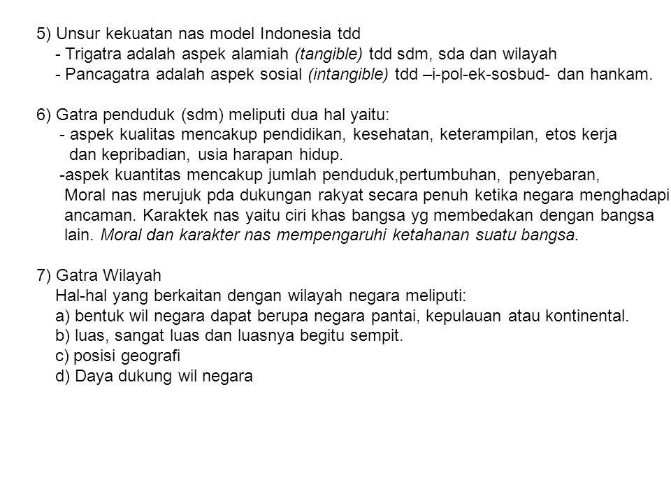 5) Unsur kekuatan nas model Indonesia tdd - Trigatra adalah aspek alamiah (tangible) tdd sdm, sda dan wilayah - Pancagatra adalah aspek sosial (intang