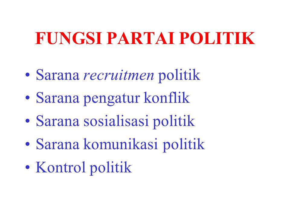 FUNGSI PARTAI POLITIK Sarana recruitmen politik Sarana pengatur konflik Sarana sosialisasi politik Sarana komunikasi politik Kontrol politik