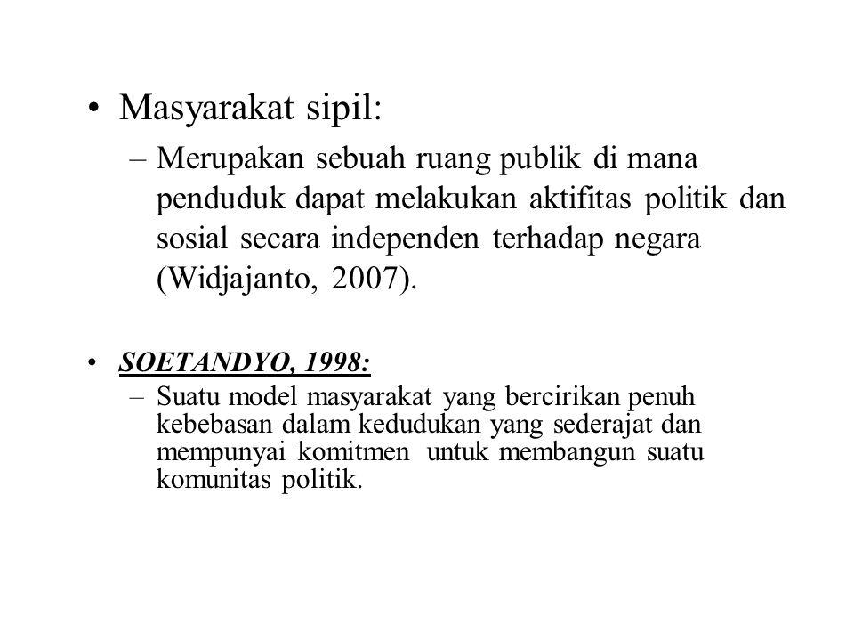 Masyarakat sipil: –Merupakan sebuah ruang publik di mana penduduk dapat melakukan aktifitas politik dan sosial secara independen terhadap negara (Widj