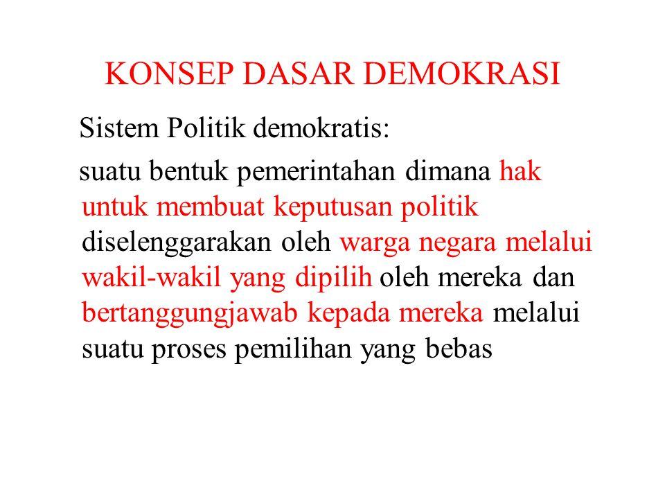 KONSEP DASAR DEMOKRASI Sistem Politik demokratis: suatu bentuk pemerintahan dimana hak untuk membuat keputusan politik diselenggarakan oleh warga nega