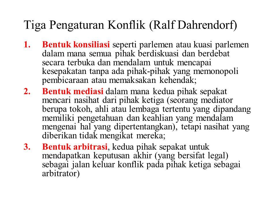 Tiga Pengaturan Konflik (Ralf Dahrendorf) 1.Bentuk konsiliasi seperti parlemen atau kuasi parlemen dalam mana semua pihak berdiskuasi dan berdebat sec