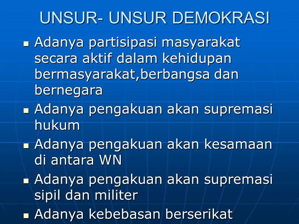 UNSUR- UNSUR DEMOKRASI Adanya partisipasi masyarakat secara aktif dalam kehidupan bermasyarakat,berbangsa dan bernegara Adanya partisipasi masyarakat