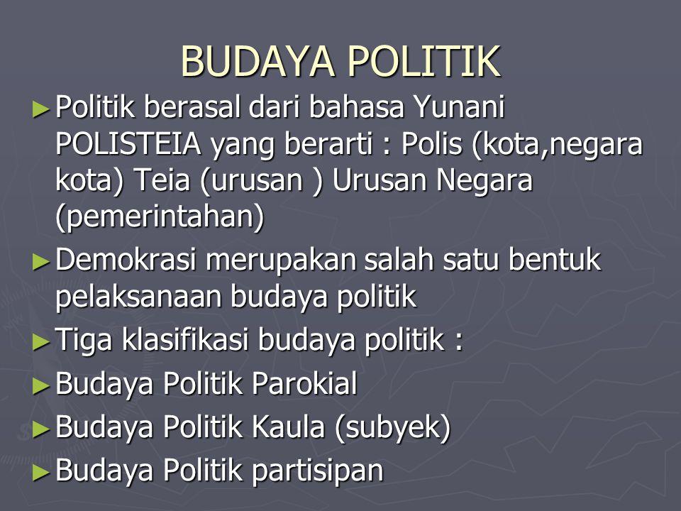BUDAYA POLITIK ►P►P►P►Politik berasal dari bahasa Yunani POLISTEIA yang berarti : Polis (kota,negara kota) Teia (urusan ) Urusan Negara (pemerintahan)