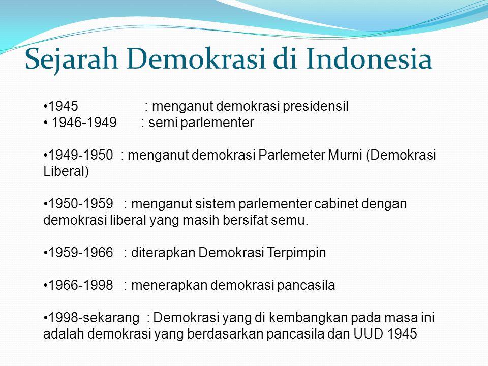Sejarah Demokrasi di Indonesia 1945 : menganut demokrasi presidensil 1946-1949: semi parlementer 1949-1950 : menganut demokrasi Parlemeter Murni (Demo