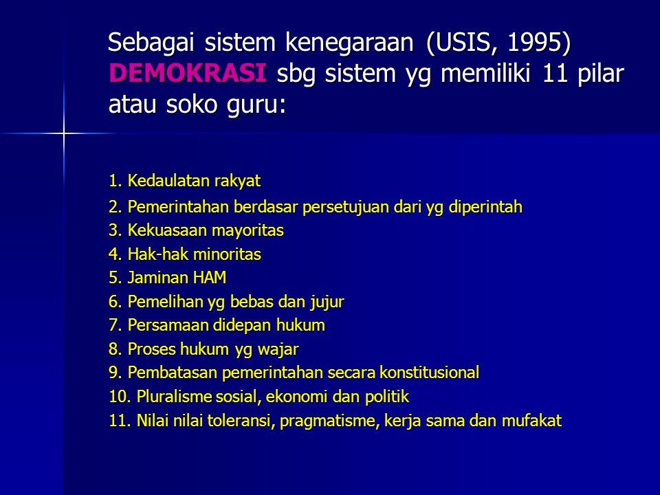 Sebagai sistem kenegaraan (USIS, 1995) DEMOKRASI sbg sistem yg memiliki 11 pilar atau soko guru: Sebagai sistem kenegaraan (USIS, 1995) DEMOKRASI sbg