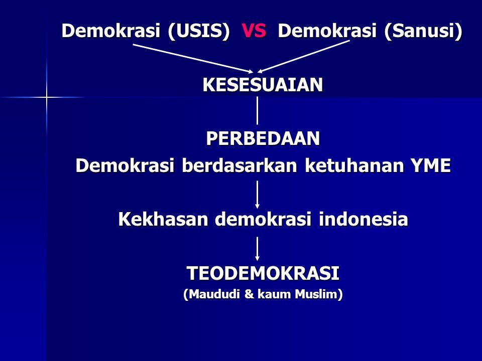 Demokrasi (USIS) VS Demokrasi (Sanusi) KESESUAIANPERBEDAAN Demokrasi berdasarkan ketuhanan YME Kekhasan demokrasi indonesia TEODEMOKRASI (Maududi & kaum Muslim)