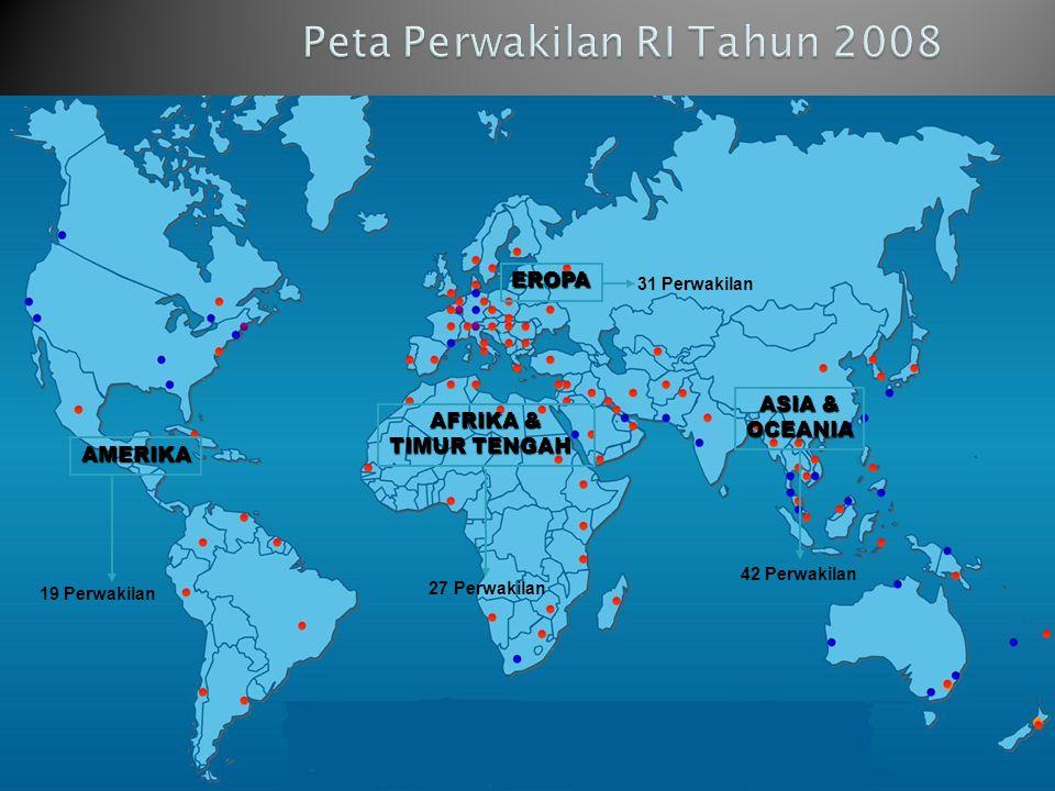 21 AMERIKA 19 Perwakilan AFRIKA & AFRIKA & TIMUR TENGAH TIMUR TENGAH 27 Perwakilan EROPA 31 Perwakilan ASIA & ASIA & OCEANIA 42 Perwakilan