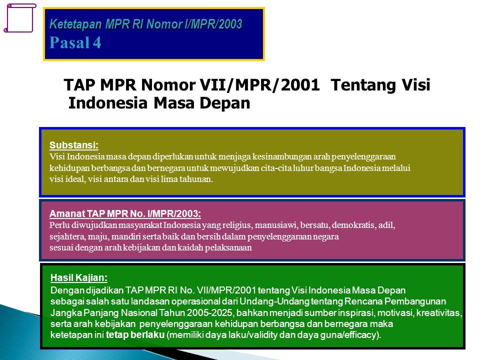 . TAP MPR Nomor VII/MPR/2001 Tentang Visi Indonesia Masa Depan Substansi: Visi Indonesia masa depan diperlukan untuk menjaga kesinambungan arah penyel
