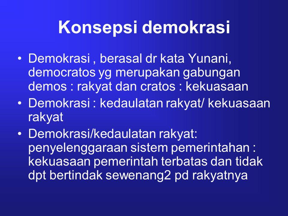 Konsepsi demokrasi Demokrasi, berasal dr kata Yunani, democratos yg merupakan gabungan demos : rakyat dan cratos : kekuasaan Demokrasi : kedaulatan ra