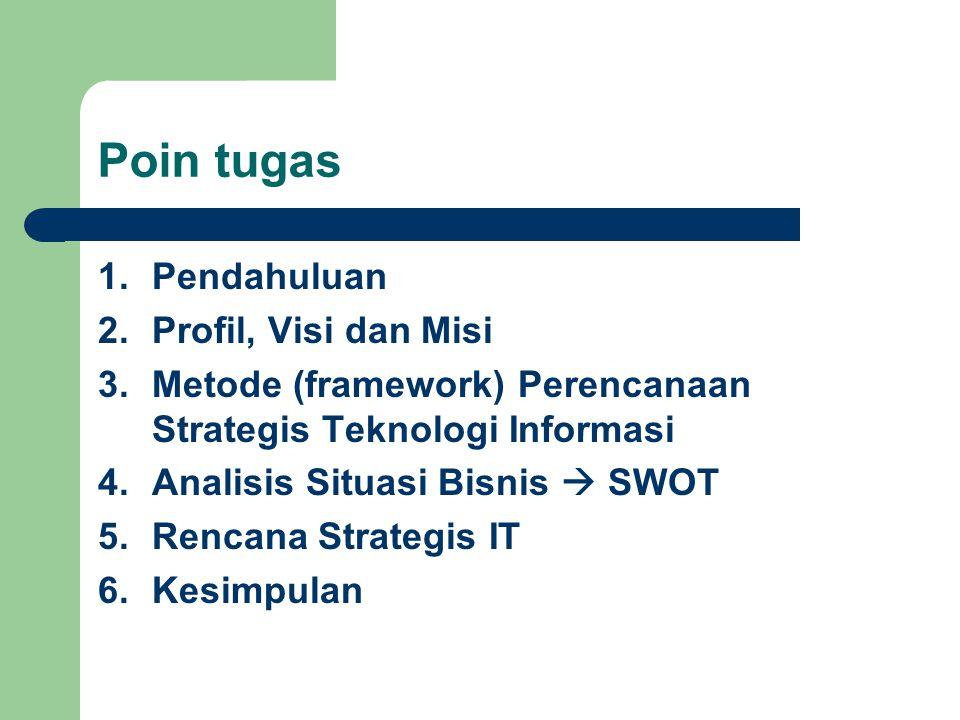Poin tugas 1.Pendahuluan 2.Profil, Visi dan Misi 3.Metode (framework) Perencanaan Strategis Teknologi Informasi 4.Analisis Situasi Bisnis  SWOT 5.Ren