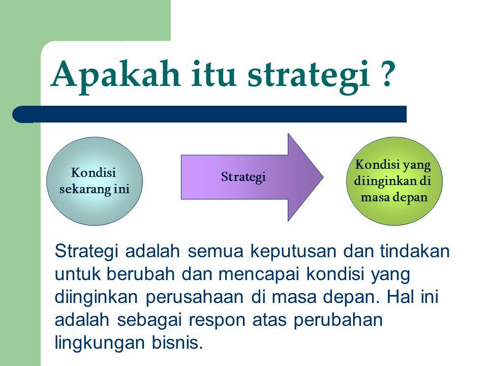 17 Apakah itu strategi ? Kondisi sekarang ini Kondisi yang diinginkan di masa depan Strategi Strategi adalah semua keputusan dan tindakan untuk beruba