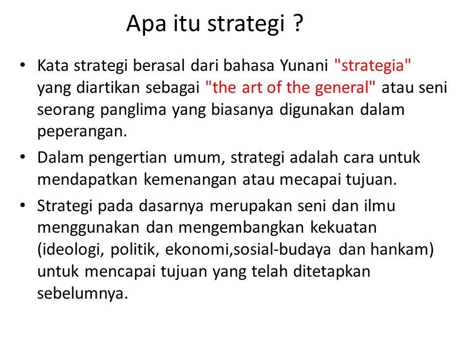 Apa itu strategi ? Kata strategi berasal dari bahasa Yunani
