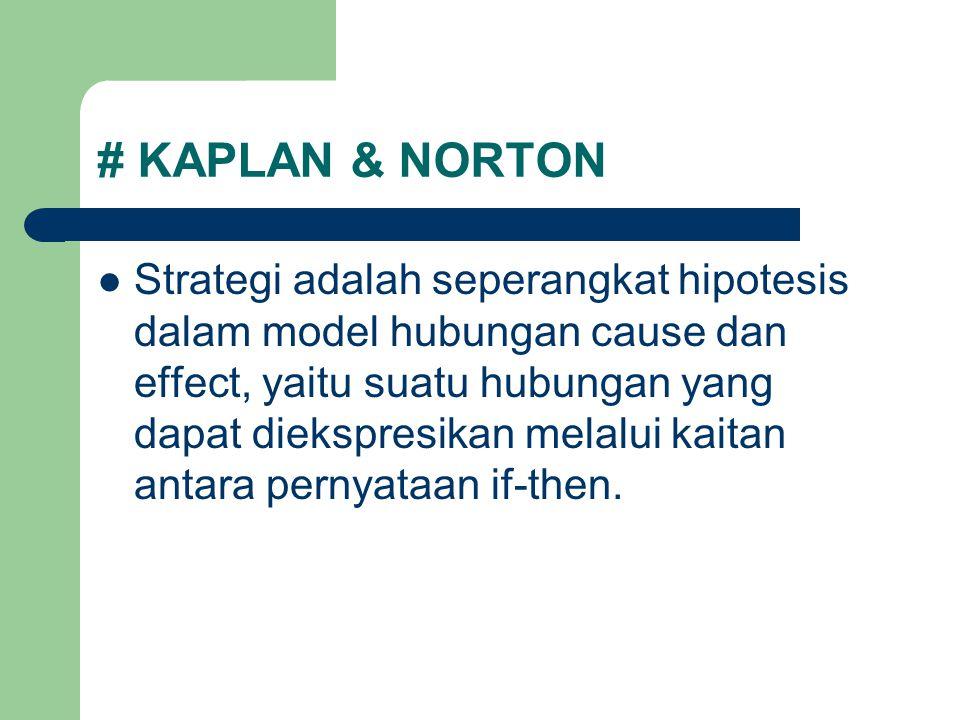# KAPLAN & NORTON Strategi adalah seperangkat hipotesis dalam model hubungan cause dan effect, yaitu suatu hubungan yang dapat diekspresikan melalui k
