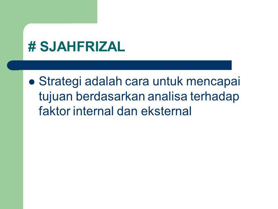# SJAHFRIZAL Strategi adalah cara untuk mencapai tujuan berdasarkan analisa terhadap faktor internal dan eksternal