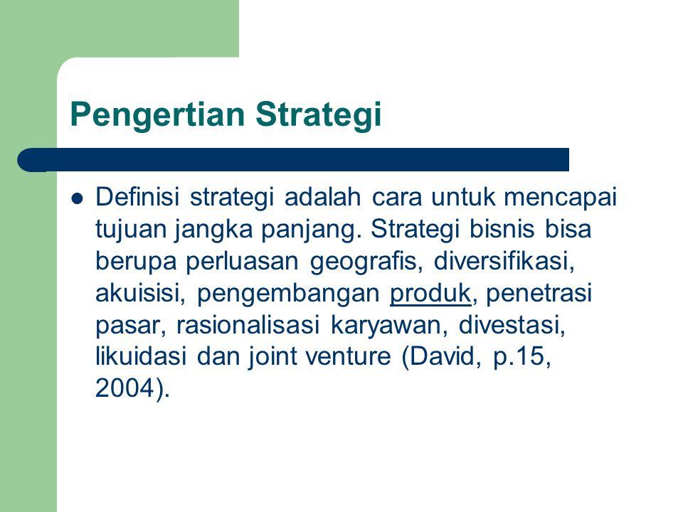 Pengertian Strategi Definisi strategi adalah cara untuk mencapai tujuan jangka panjang. Strategi bisnis bisa berupa perluasan geografis, diversifikasi