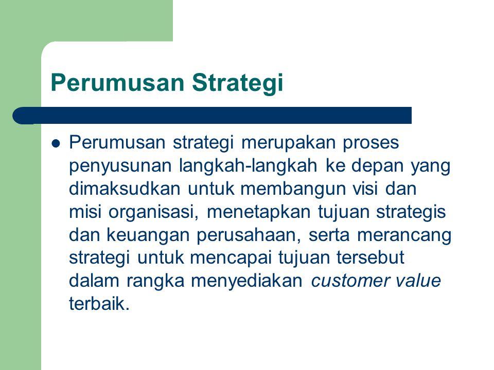 Perumusan Strategi Perumusan strategi merupakan proses penyusunan langkah-langkah ke depan yang dimaksudkan untuk membangun visi dan misi organisasi,