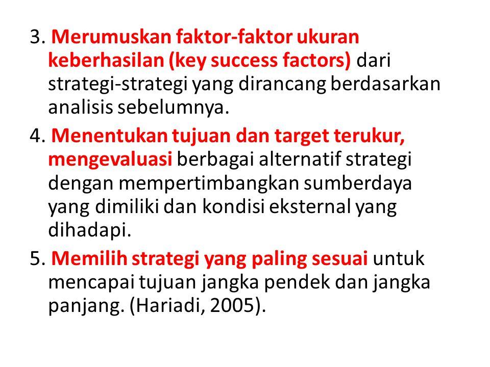 3. Merumuskan faktor-faktor ukuran keberhasilan (key success factors) dari strategi-strategi yang dirancang berdasarkan analisis sebelumnya. 4. Menent
