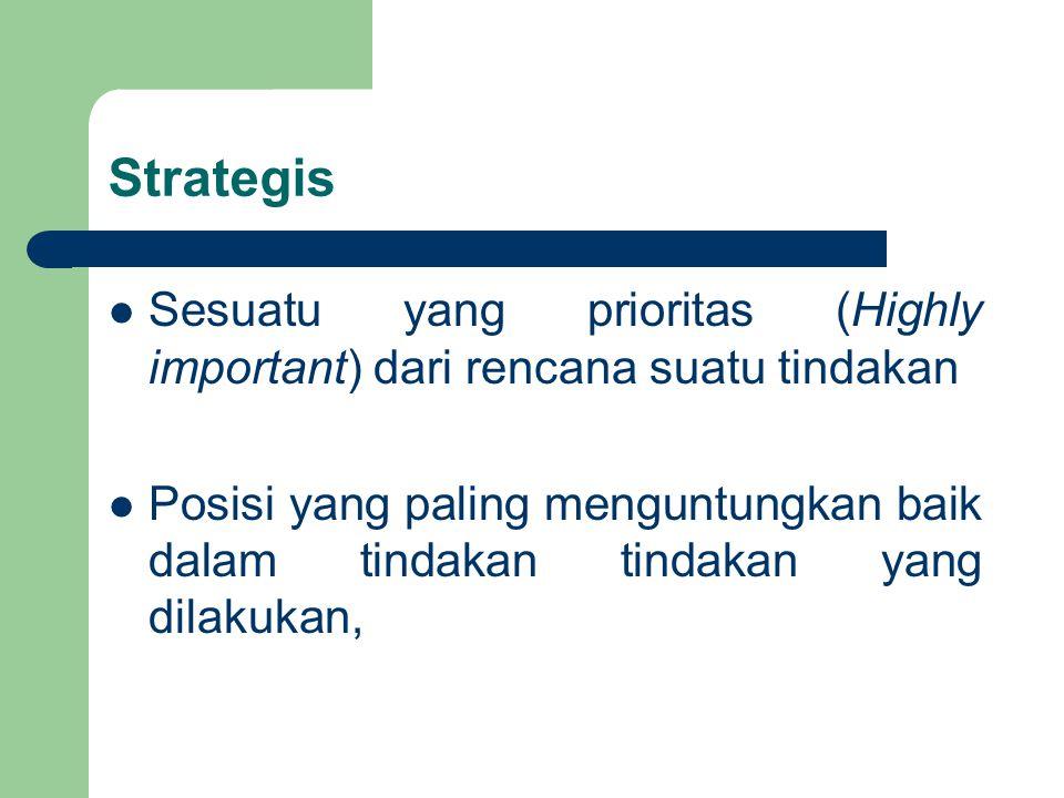Strategis Sesuatu yang prioritas (Highly important) dari rencana suatu tindakan Posisi yang paling menguntungkan baik dalam tindakan tindakan yang dil