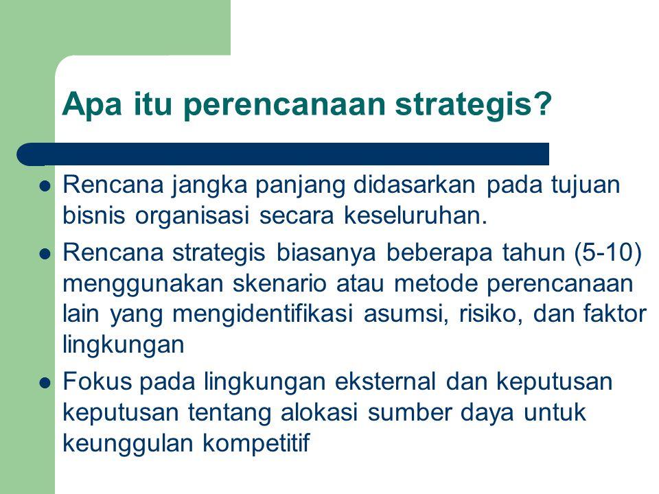 Apa itu perencanaan strategis? Rencana jangka panjang didasarkan pada tujuan bisnis organisasi secara keseluruhan. Rencana strategis biasanya beberapa
