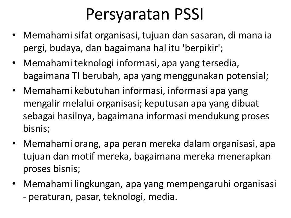 Persyaratan PSSI Memahami sifat organisasi, tujuan dan sasaran, di mana ia pergi, budaya, dan bagaimana hal itu 'berpikir'; Memahami teknologi informa