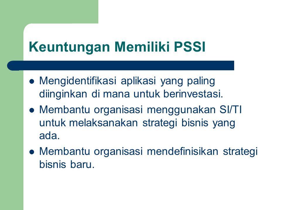 Keuntungan Memiliki PSSI Mengidentifikasi aplikasi yang paling diinginkan di mana untuk berinvestasi. Membantu organisasi menggunakan SI/TI untuk mela