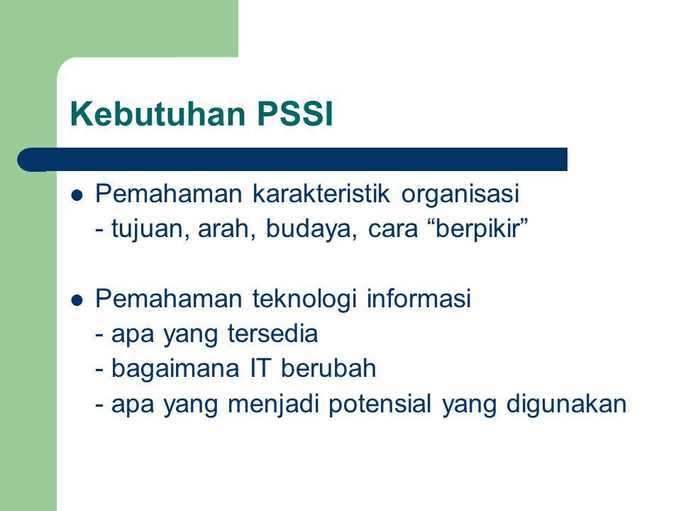 """Kebutuhan PSSI Pemahaman karakteristik organisasi - tujuan, arah, budaya, cara """"berpikir"""" Pemahaman teknologi informasi - apa yang tersedia - bagaiman"""