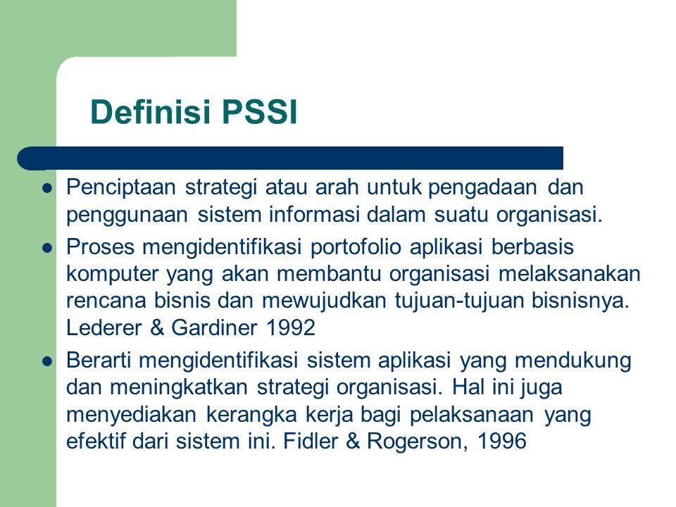 Definisi PSSI Penciptaan strategi atau arah untuk pengadaan dan penggunaan sistem informasi dalam suatu organisasi. Proses mengidentifikasi portofolio
