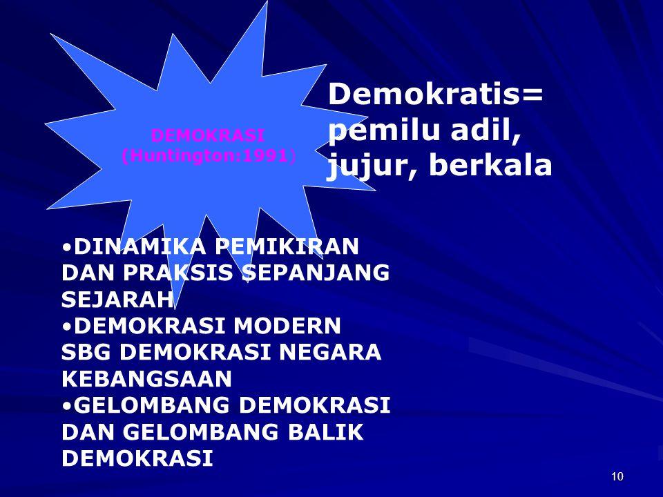9 (Torres:1998) FORMAL DEMOKRASI: SISTEM PEMERINTAHAH SUBSTANTIVE DEMOCRACY : PROSES DEMOKRASI, MELIPUTI: PROTECTIVE DEMOCRACY > KEKUASAAN EKONOMI PAS