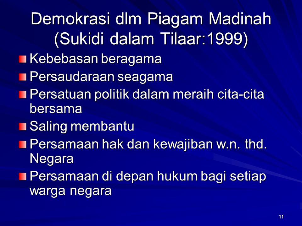 10 DEMOKRASI (Huntington:1991) Demokratis= pemilu adil, jujur, berkala DINAMIKA PEMIKIRAN DAN PRAKSIS SEPANJANG SEJARAH DEMOKRASI MODERN SBG DEMOKRASI
