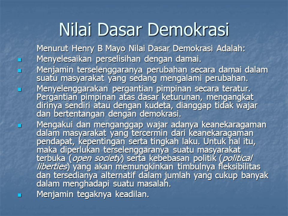 Nilai Dasar Demokrasi Menurut Henry B Mayo Nilai Dasar Demokrasi Adalah: Menyelesaikan perselisihan dengan damai. Menyelesaikan perselisihan dengan da