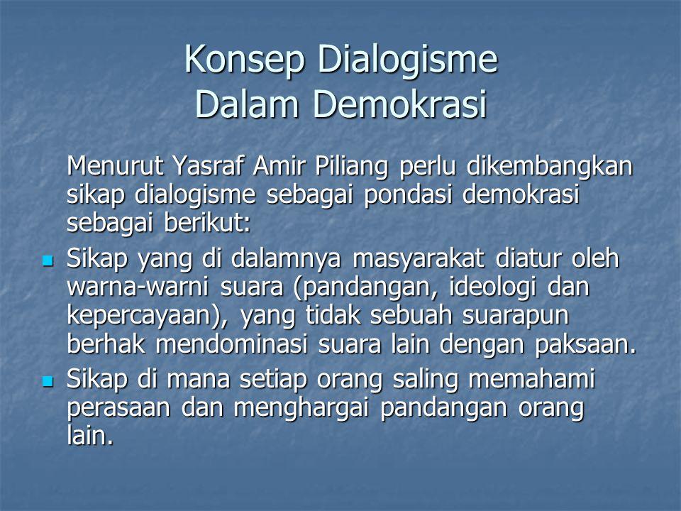 Konsep Dialogisme Dalam Demokrasi Menurut Yasraf Amir Piliang perlu dikembangkan sikap dialogisme sebagai pondasi demokrasi sebagai berikut: Sikap yan