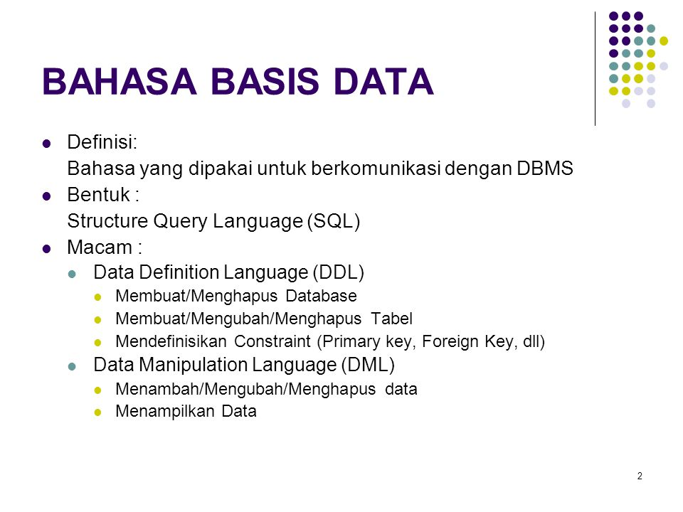 Mendefinisikan Primary Key (2) Create Table Mahasiswa( Thang Integer Not Null, Nim Integer Not Null, Nama Varchar (30) Not Null, Alamat Varchar (80) Default Yogya , Tgl Datetime, Primary Key (Nim));
