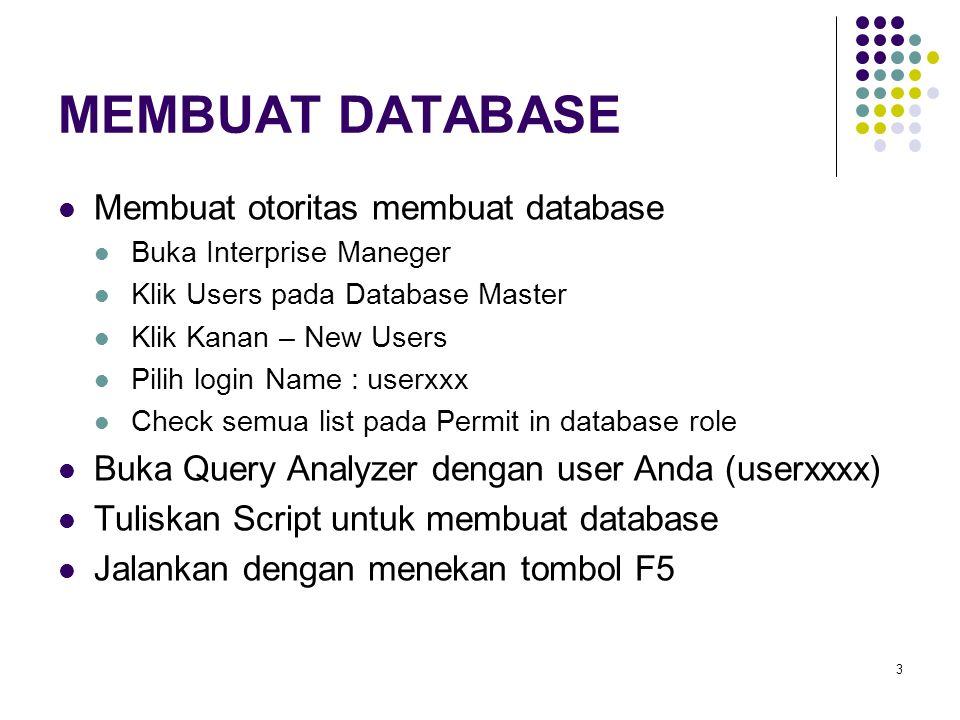 24 LATIHAN 1.Buat Database PBDxxxx, simpan di folder anda 2.