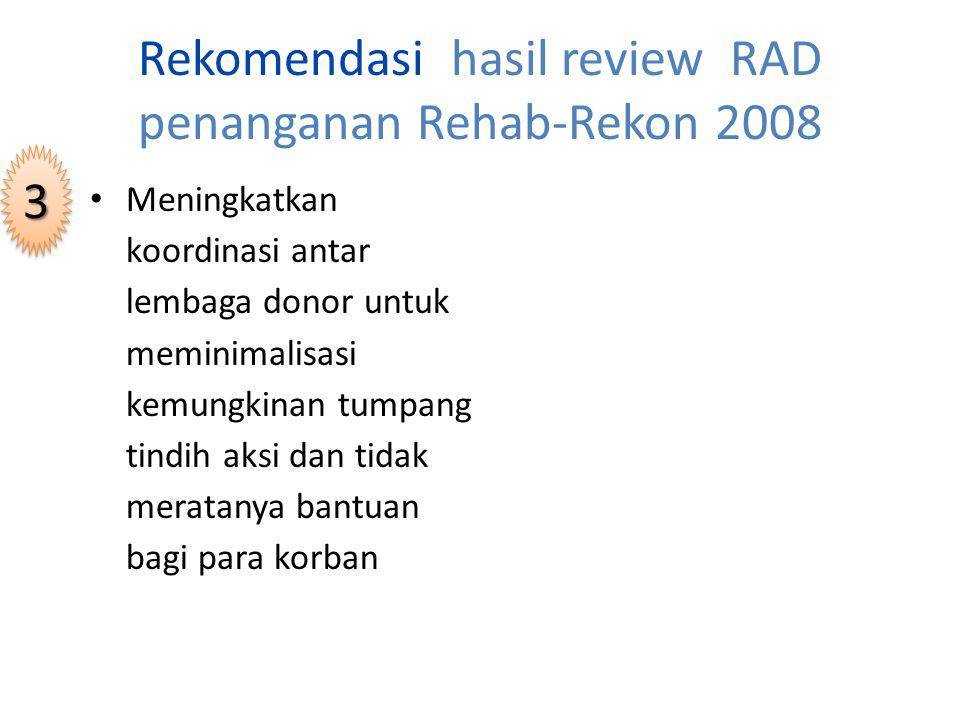 Rekomendasi hasil review RAD penanganan Rehab-Rekon 2008 Mengoptimalkan pelaksanaan SK Gubernur nomor 23/TIM/2006 tentang Forum Yogya Bangkit dan kebijakan yang terkait dengan penguatan support system 22